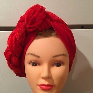 Turban- red velvet fabric